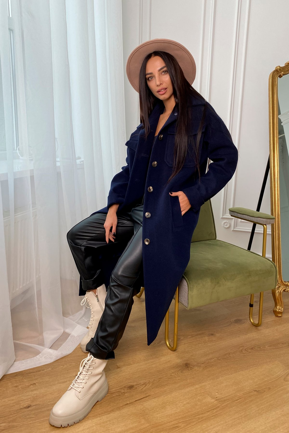 Ола кашемир китай пальтовая ткань зима пальто 9987 АРТ. 46285 Цвет: т. синий - фото 1, интернет магазин tm-modus.ru