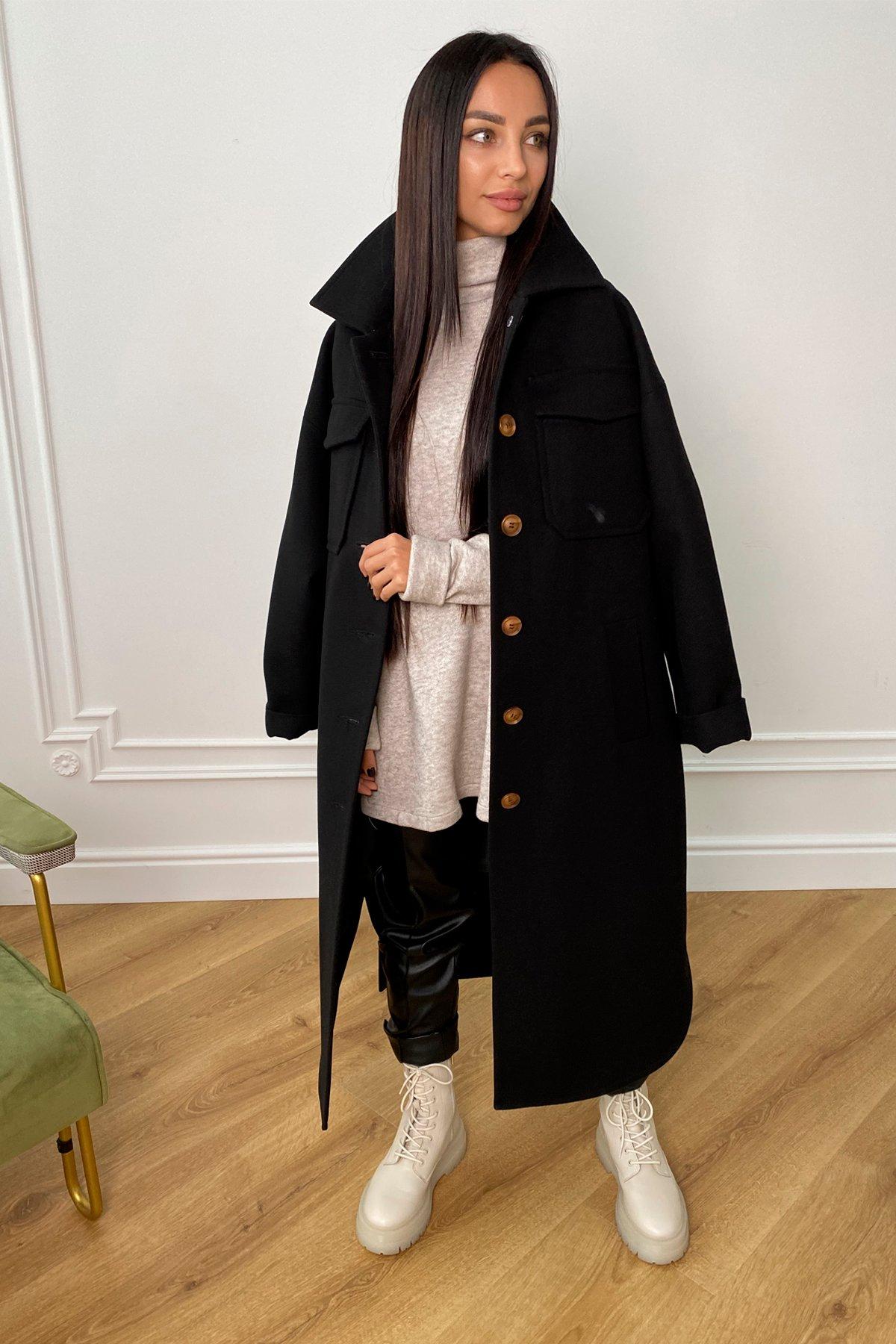 Ола  зимнее  пальто из гладкого кашемира 9987 АРТ. 46286 Цвет: Черный - фото 4, интернет магазин tm-modus.ru