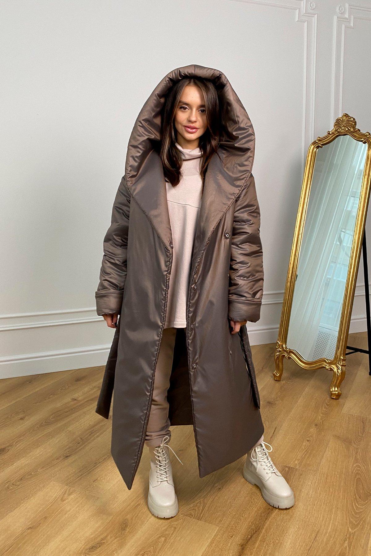 Берлин пальто зимнее из плащевой ткани, стеганое 10082 АРТ. 46395 Цвет: Шоколад/хамелеон - фото 1, интернет магазин tm-modus.ru