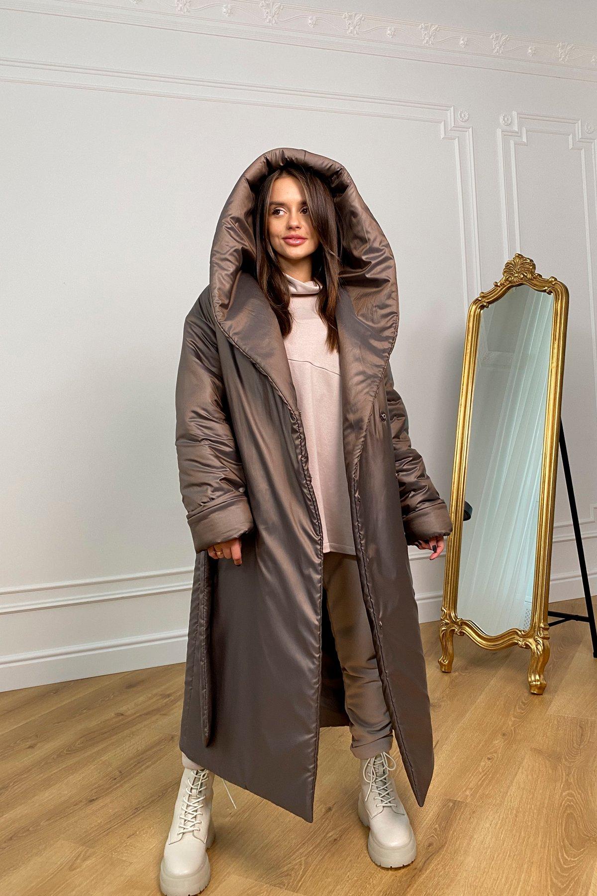Берлин пальто зимнее из плащевой ткани, стеганое 10082 АРТ. 46395 Цвет: Шоколад/хамелеон - фото 2, интернет магазин tm-modus.ru