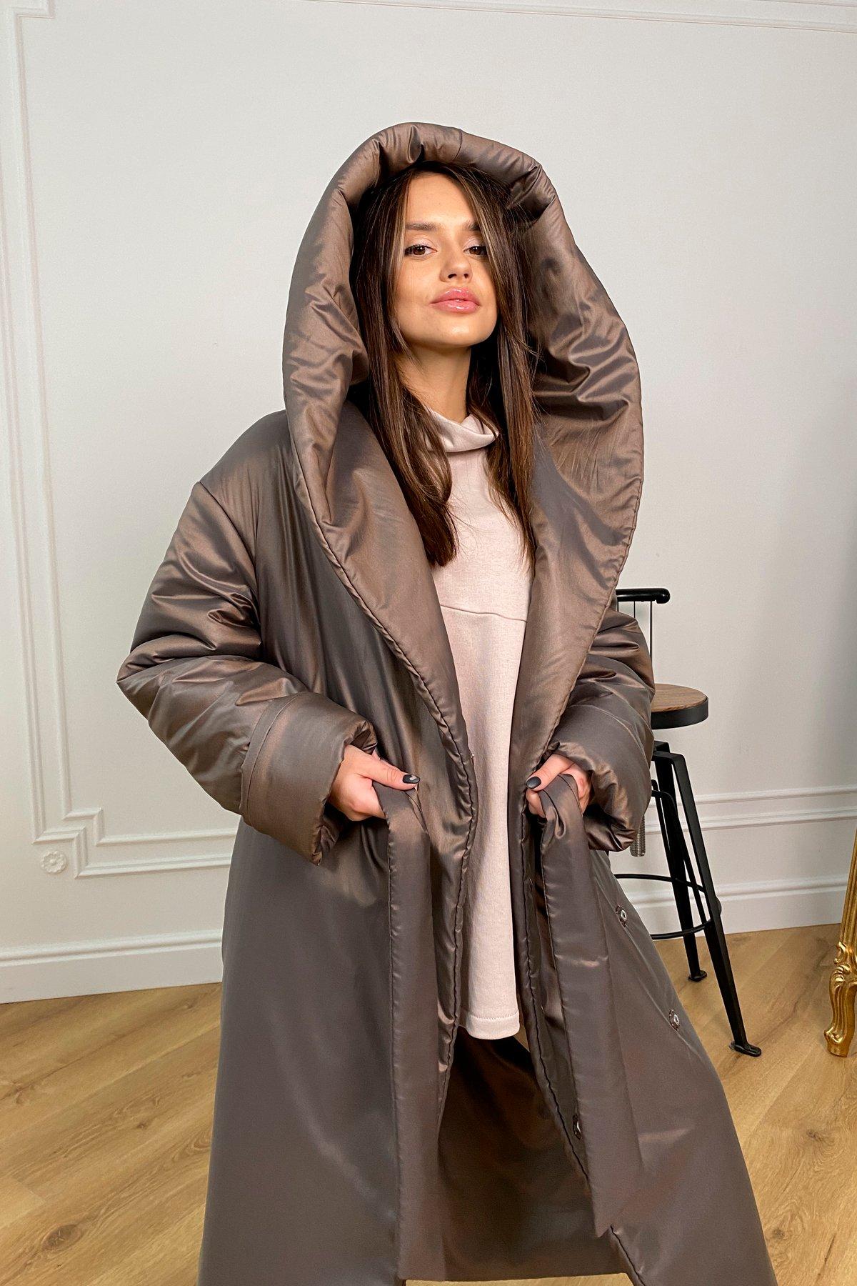 Берлин пальто зимнее из плащевой ткани, стеганое 10082 АРТ. 46395 Цвет: Шоколад/хамелеон - фото 4, интернет магазин tm-modus.ru