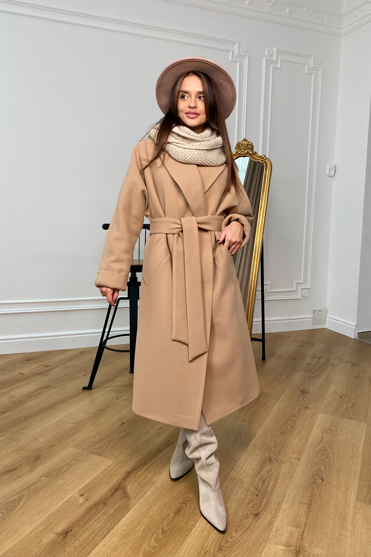 Влада зимнее пальто из кашемира с хомутом 10033 АРТ. 46334 Цвет: Кемел - фото 5, интернет магазин tm-modus.ru