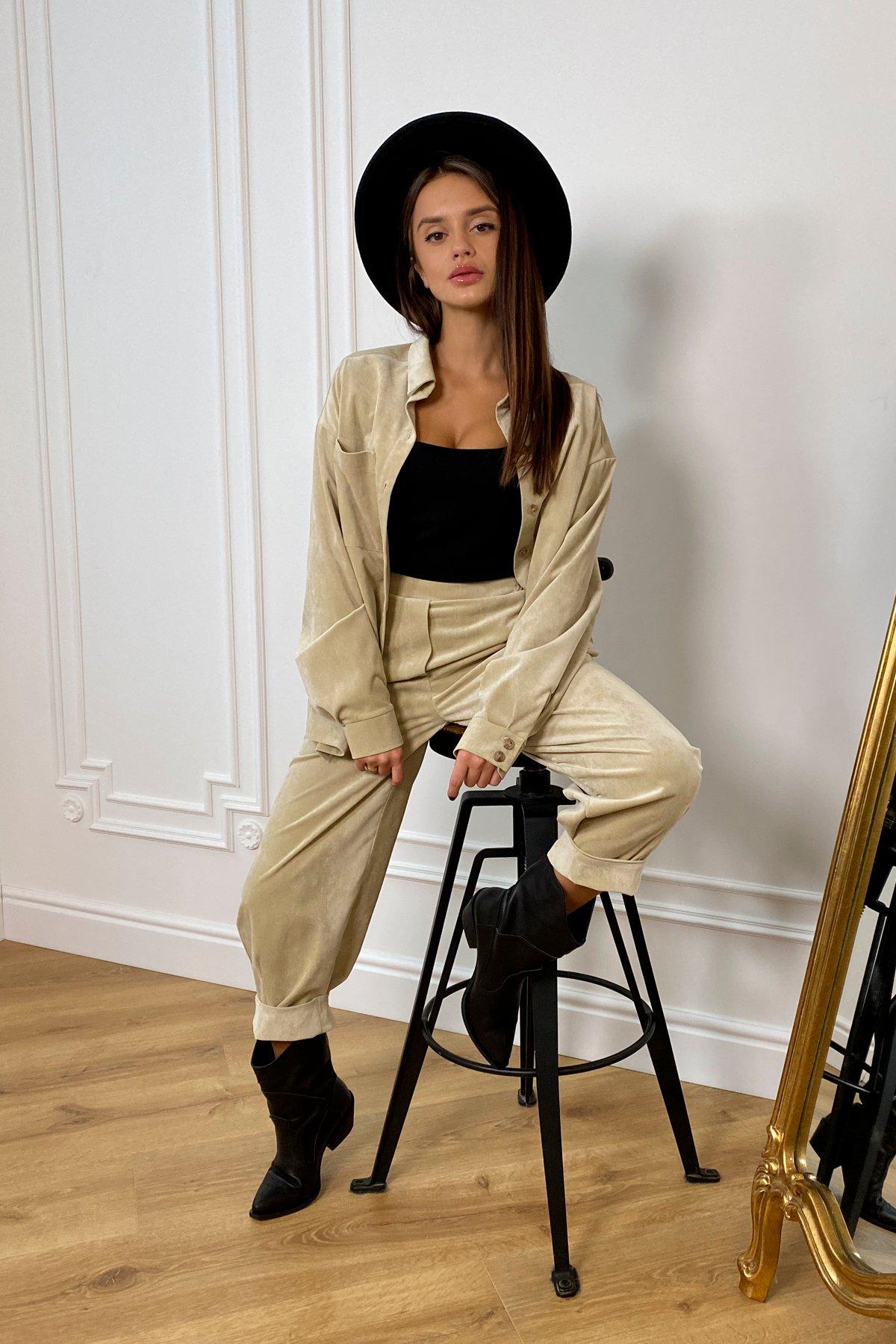 Браво микровельвет костюм 9695 АРТ. 46154 Цвет: Бежевый - фото 1, интернет магазин tm-modus.ru