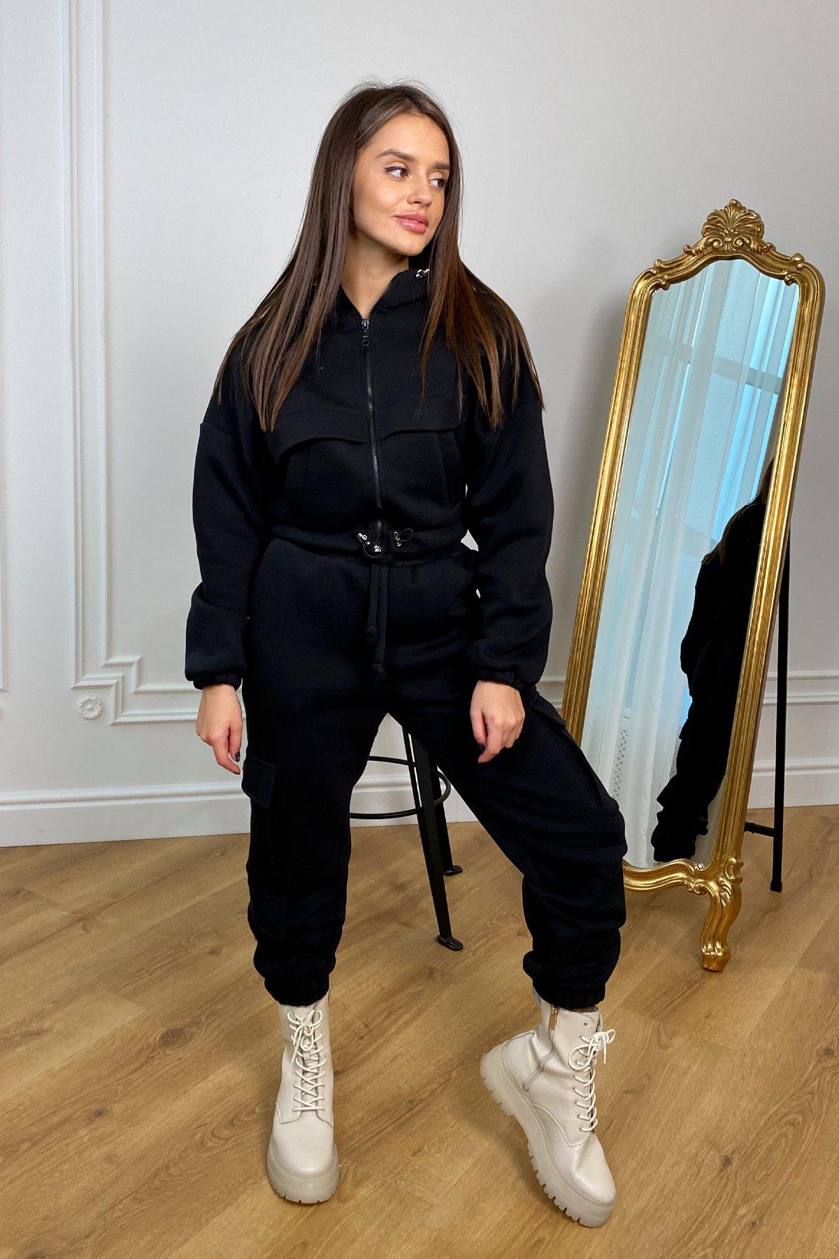 Кьюи  прогулочный костю 3х нитка с начесом 9933 АРТ. 46261 Цвет: Черный - фото 1, интернет магазин tm-modus.ru
