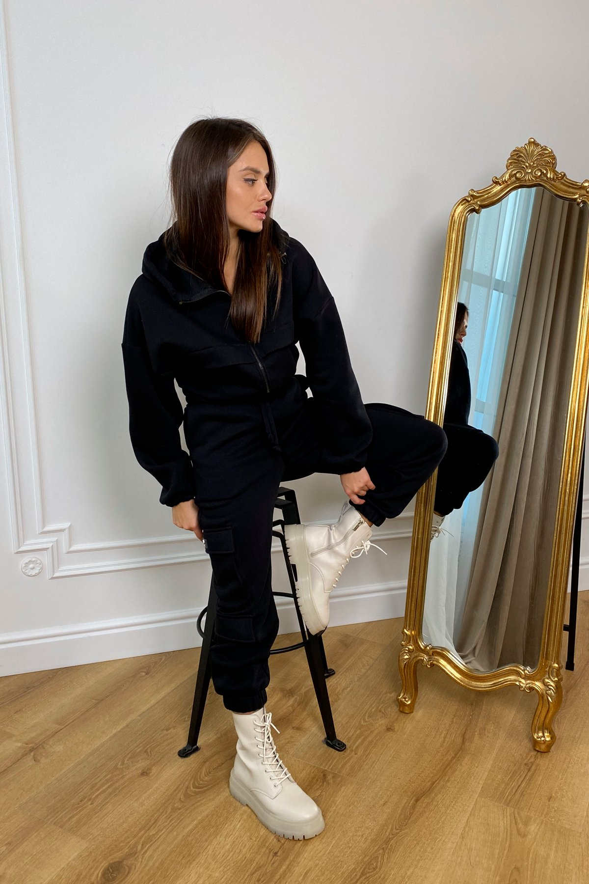 Кьюи  прогулочный костю 3х нитка с начесом 9933 АРТ. 46261 Цвет: Черный - фото 10, интернет магазин tm-modus.ru