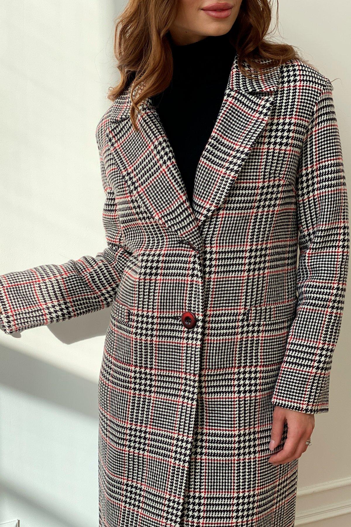 Зимнее пальто в клетку с мехом Вива 8315 АРТ. 44454 Цвет: Клетка кр черн/бел/кр - фото 2, интернет магазин tm-modus.ru