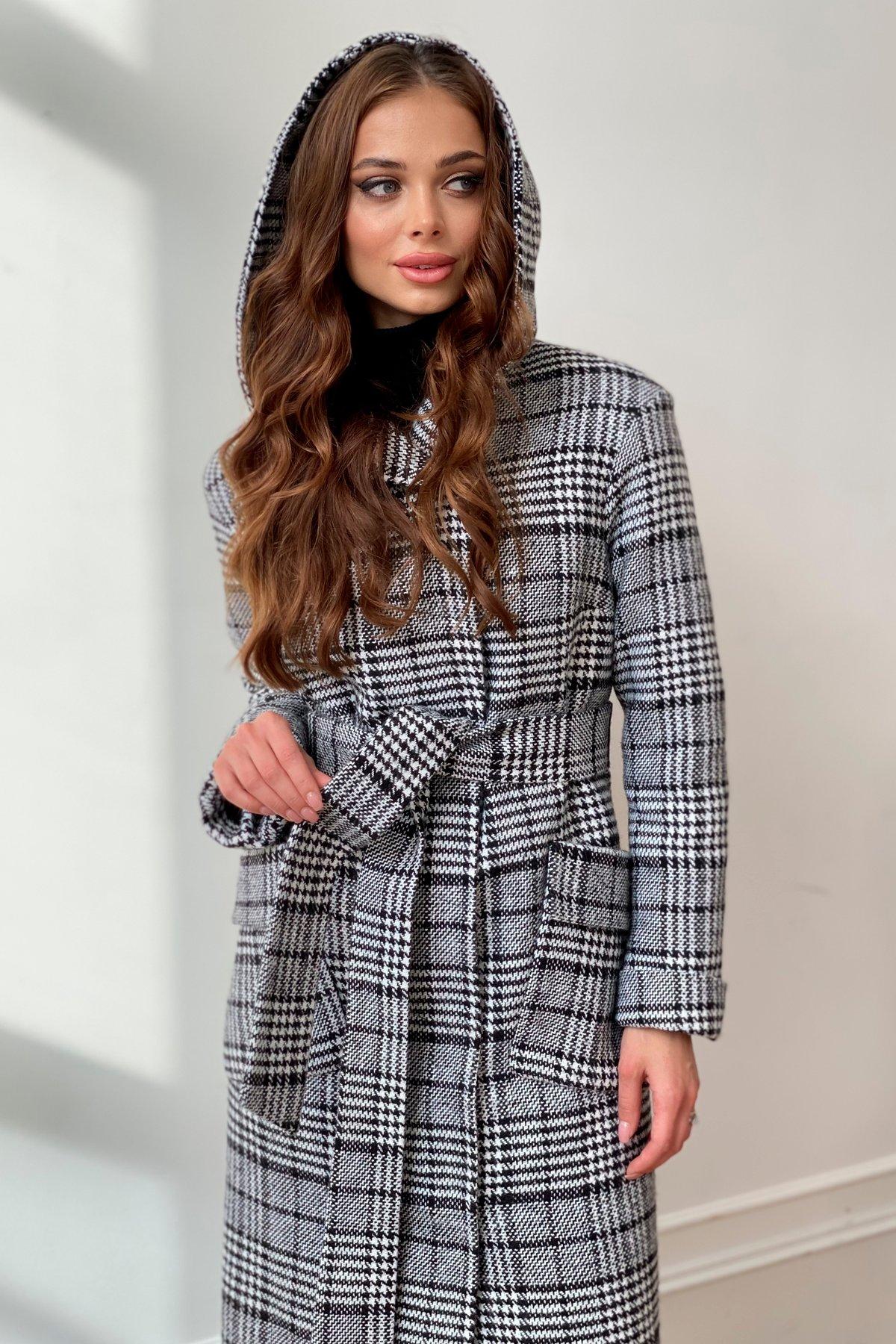 Зимнее пальто в стильную клетку Анджи 8276 АРТ. 44841 Цвет: Клетка чер/бел - фото 1, интернет магазин tm-modus.ru