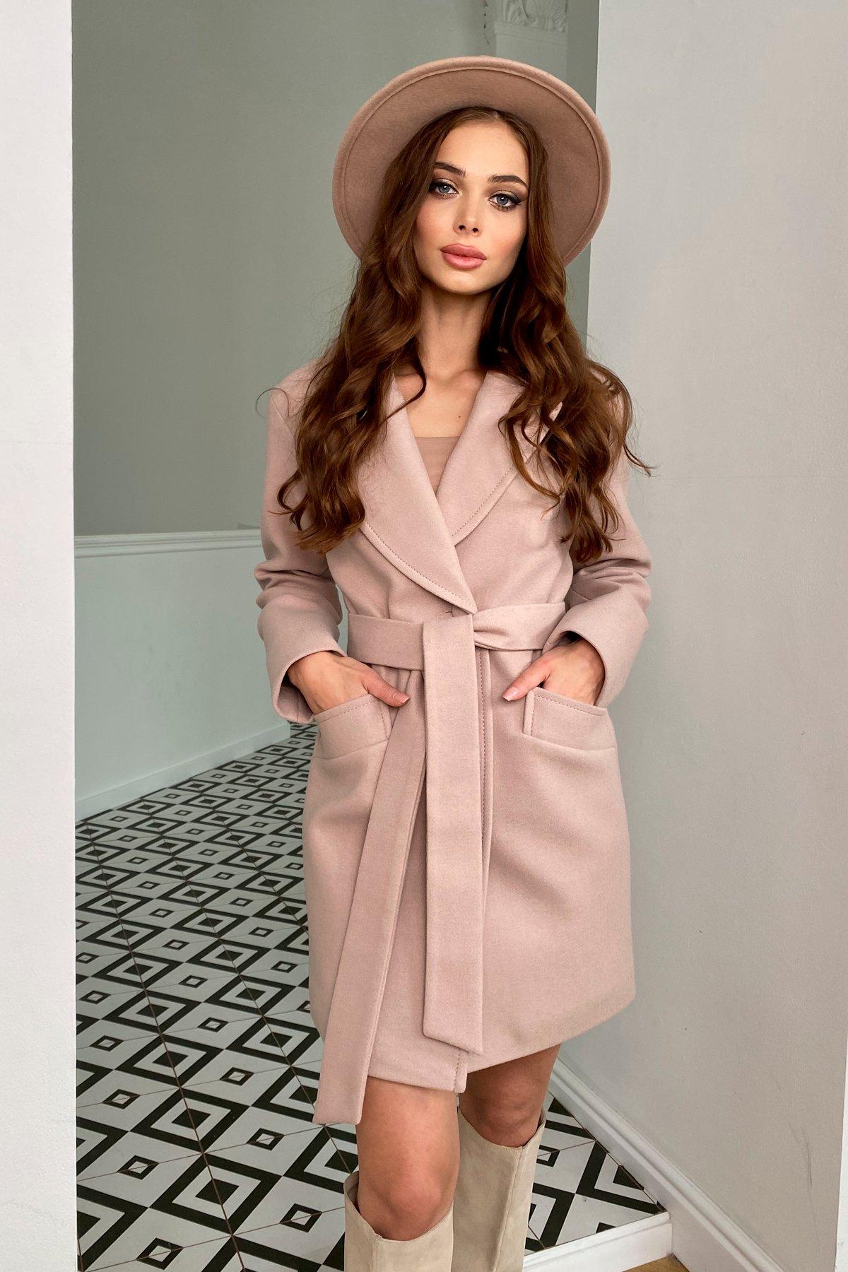 Вейсона кашемир на трикотаже пальто 9866 АРТ. 46159 Цвет: Пудра - фото 2, интернет магазин tm-modus.ru