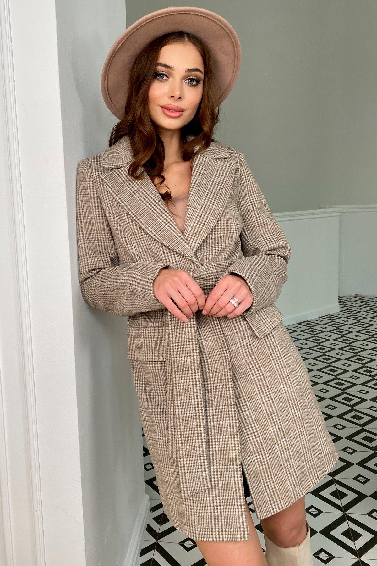 Корси клетка комби пальтовая ткань пальто 9893 АРТ. 46186 Цвет: Шоколад/молоко - фото 1, интернет магазин tm-modus.ru