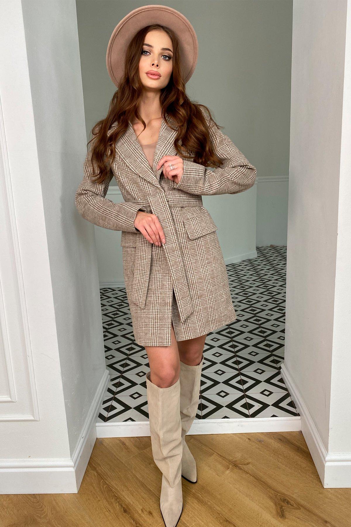 Корси клетка комби пальтовая ткань пальто 9893 АРТ. 46186 Цвет: Шоколад/молоко - фото 3, интернет магазин tm-modus.ru