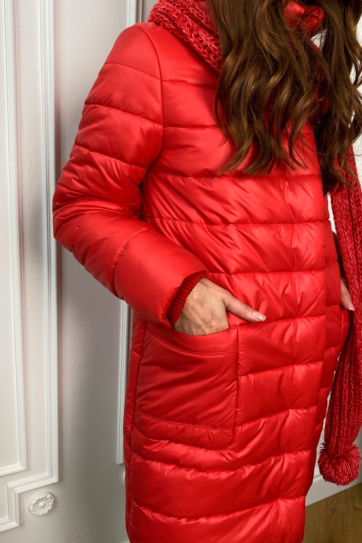 Пуховик прямого кроя с меховыми карманами Лили Лаке 8365 АРТ. 44560 Цвет: Красный - фото 5, интернет магазин tm-modus.ru