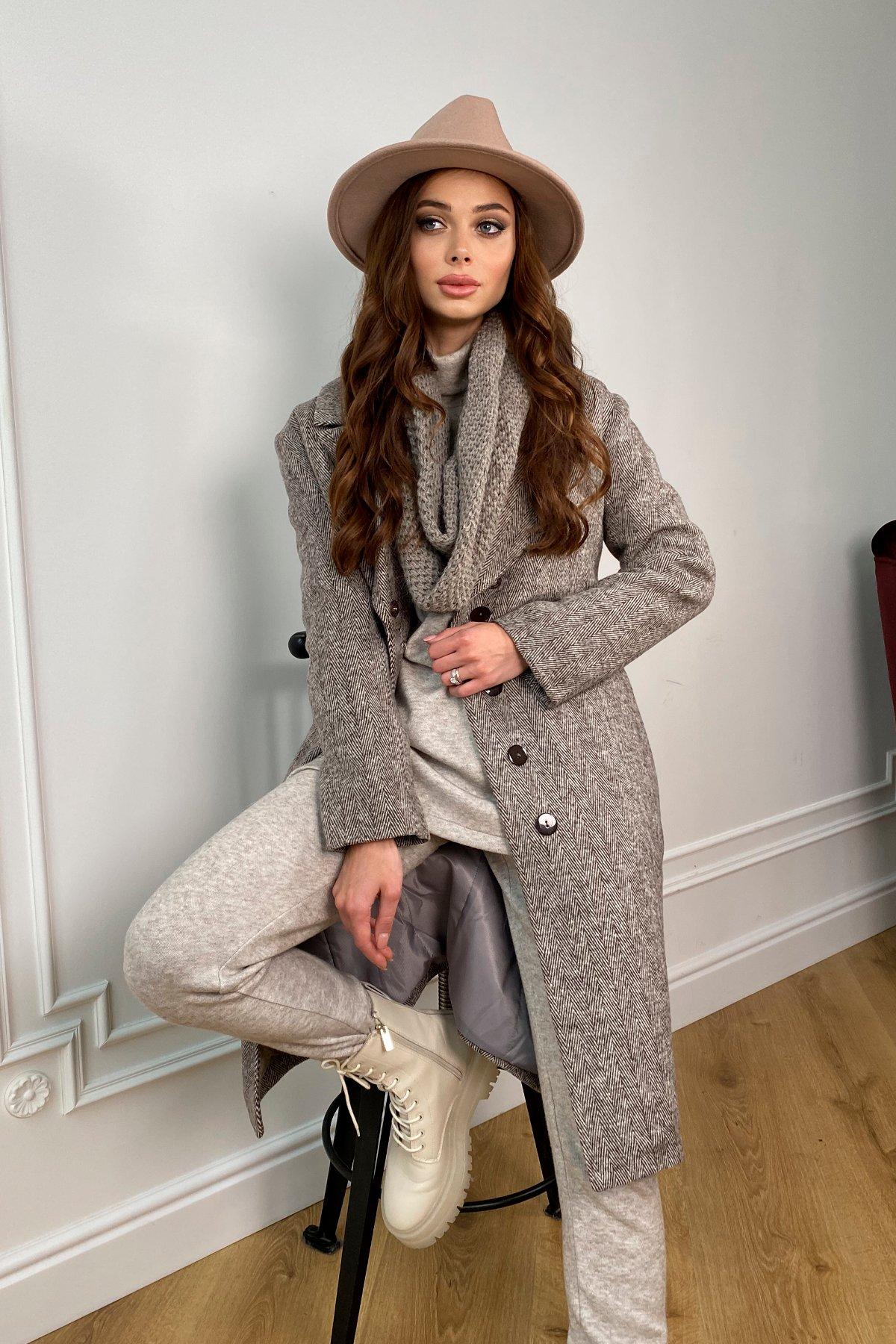 Зимнее пальто полуприталенного кроя Севен 8262 АРТ. 44330 Цвет: шоколад/молоко - фото 2, интернет магазин tm-modus.ru