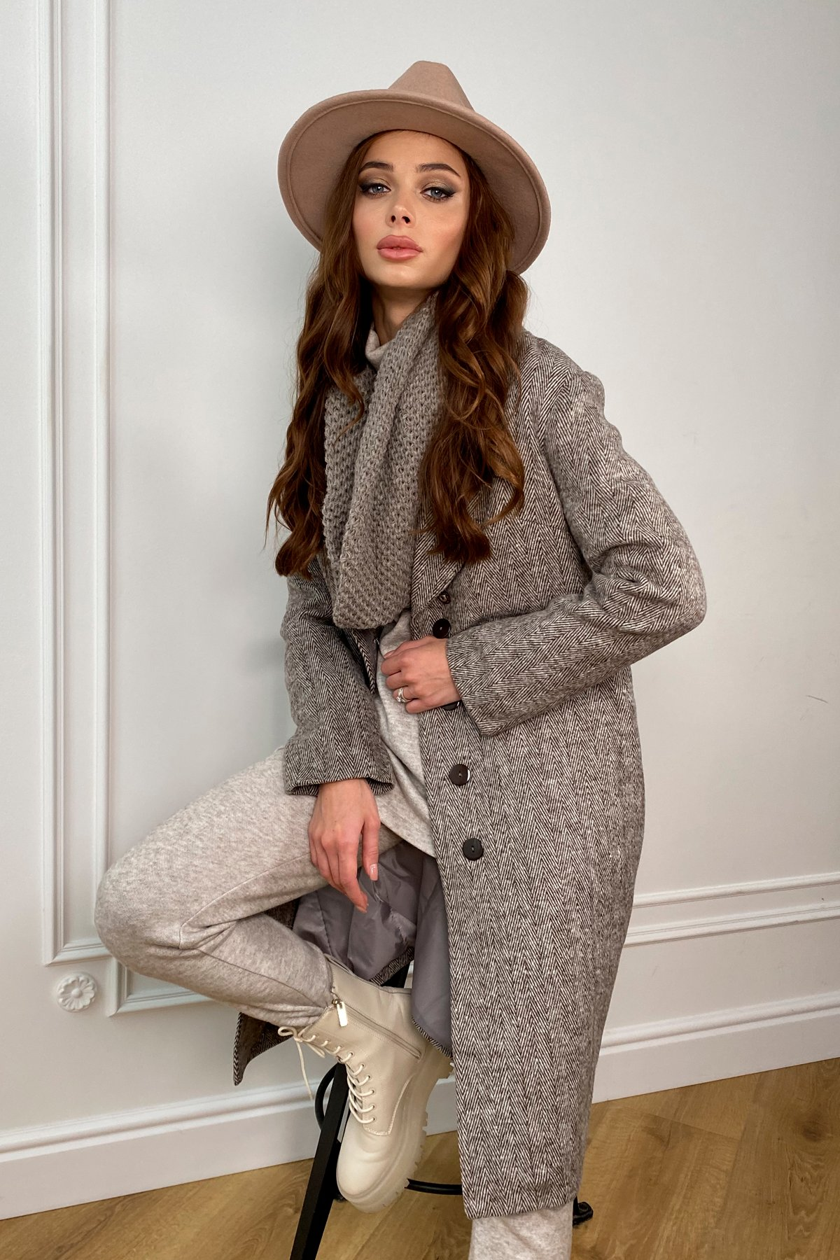 Зимнее пальто полуприталенного кроя Севен 8262 АРТ. 44330 Цвет: шоколад/молоко - фото 3, интернет магазин tm-modus.ru