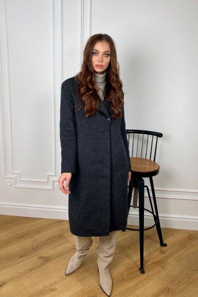 Зимнее пальто полуприталенного кроя Севен 8262 Цвет: серый темный