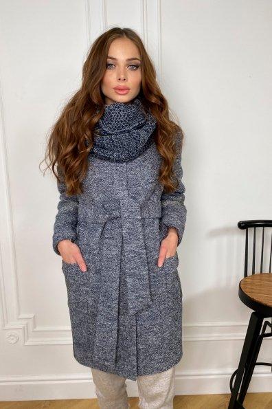 Зимнее пальто с мехом на рукавах Приоритет 5457 Цвет: Серый темный LW-22