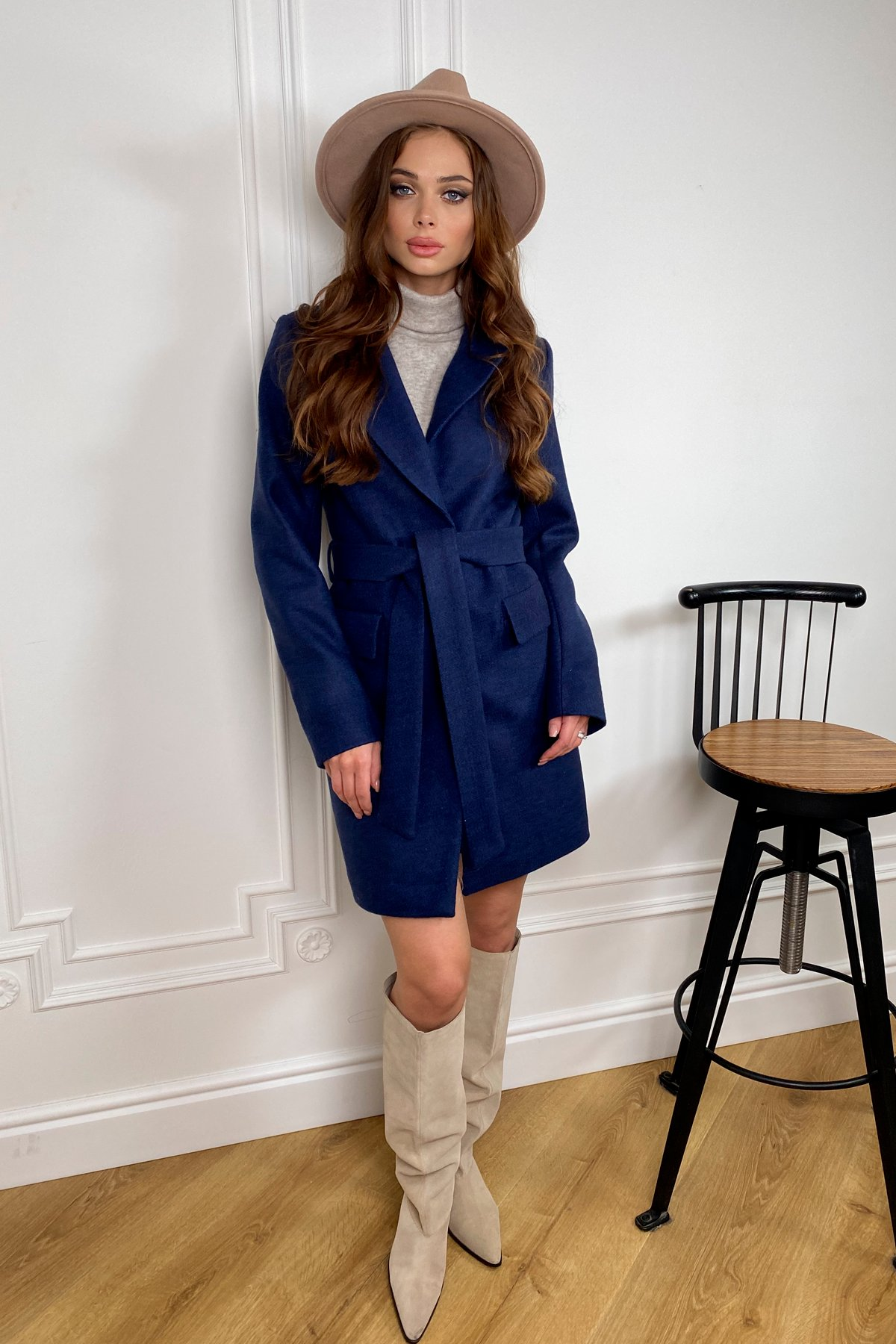 Корси кашемир меланж на трикотаже пальто 9827 АРТ. 46114 Цвет: Т.синий - фото 1, интернет магазин tm-modus.ru