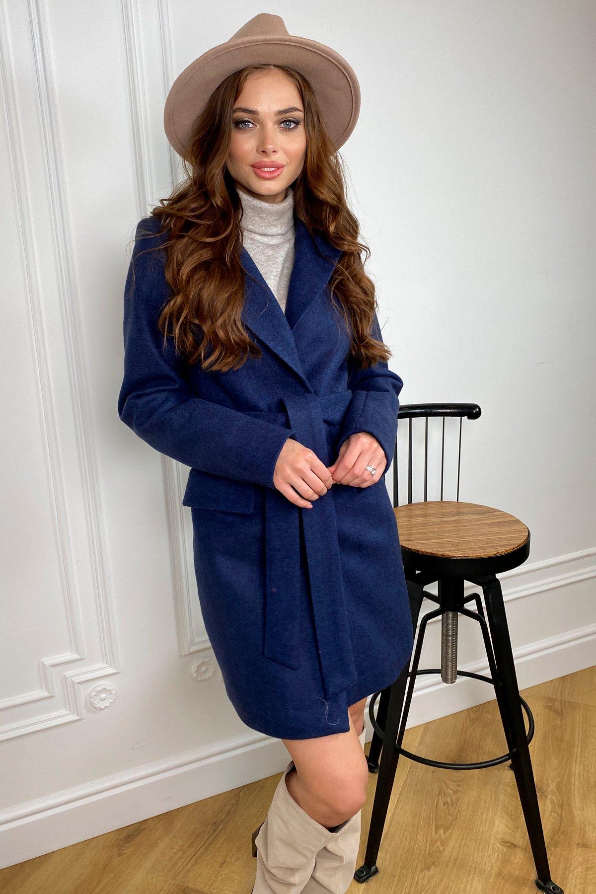Корси кашемир меланж на трикотаже пальто 9827 АРТ. 46114 Цвет: Т.синий - фото 3, интернет магазин tm-modus.ru