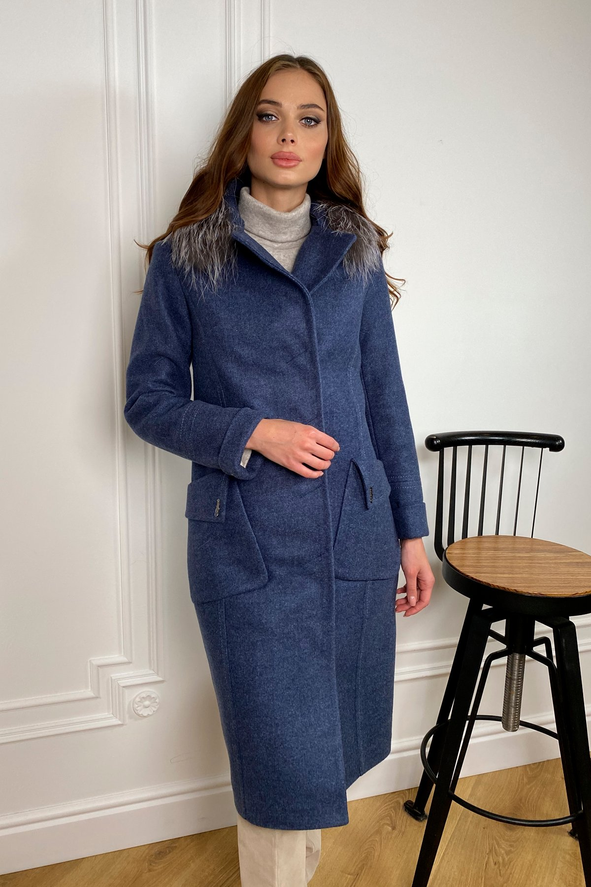 Зимнее пальто с мехом Стейси 5647 Цвет: Джинс 57