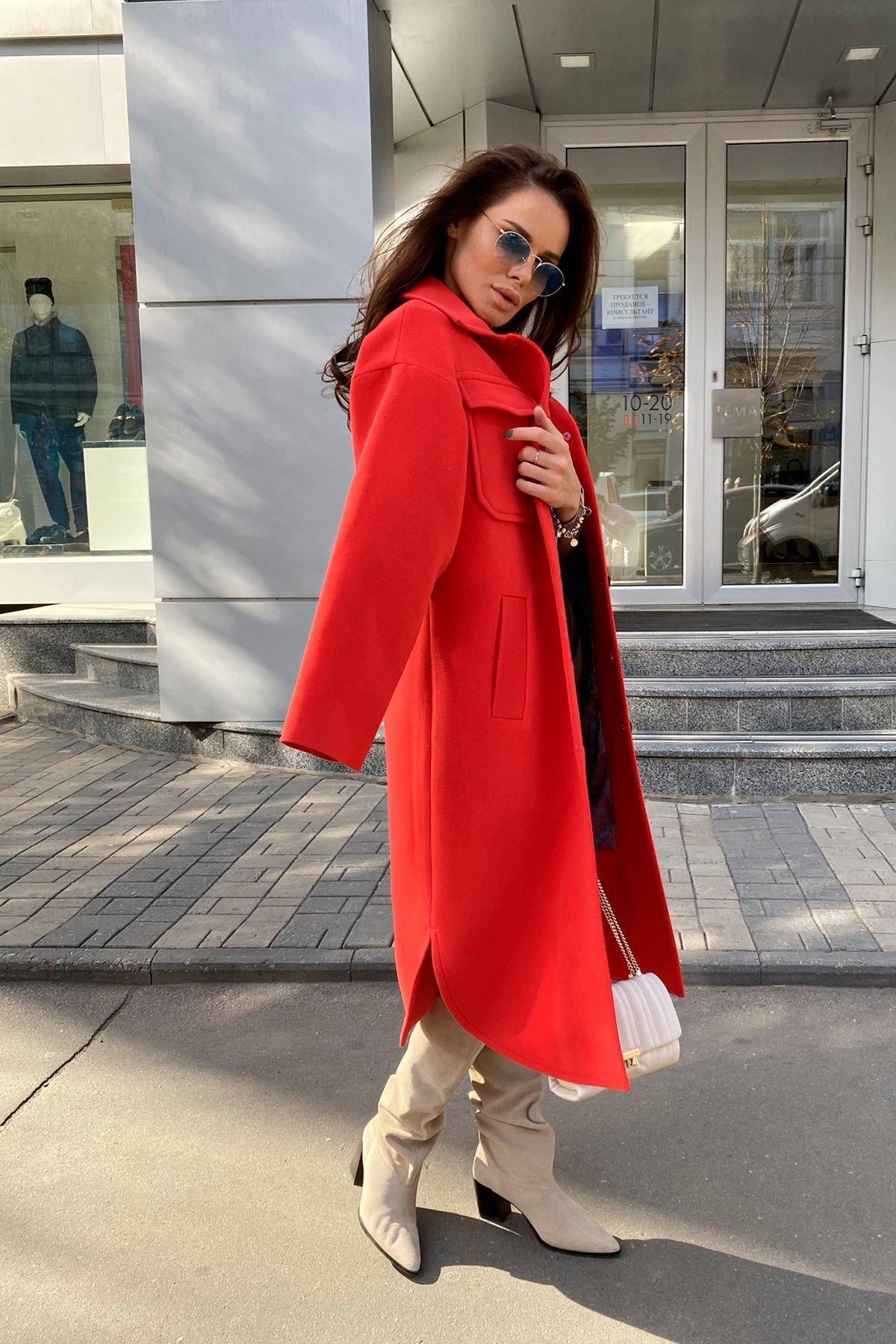 Ола  зимнее  пальто из гладкого кашемира 9987 АРТ. 46284 Цвет: Красный - фото 5, интернет магазин tm-modus.ru