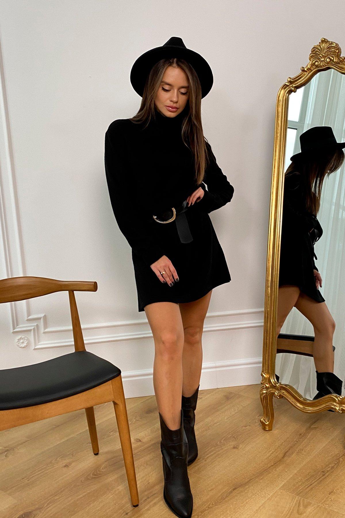 Дресса трикотаж ангора платье 10129 АРТ. 46428 Цвет: Черный - фото 1, интернет магазин tm-modus.ru