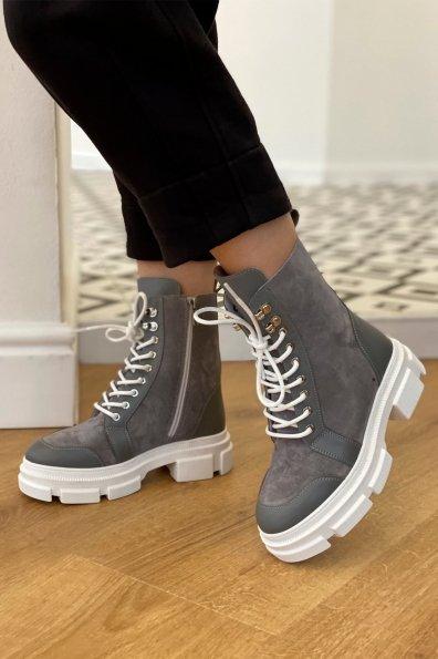 Купить Ботинки зимние 260/14 (замш,вставки кожа,на шнурках) оптом и в розницу