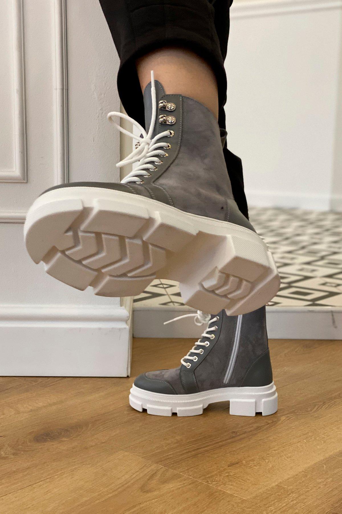 Ботинки зимние 260/14 (замш,вставки кожа,на шнурках) АРТ. 46440 Цвет: Серый - фото 2, интернет магазин tm-modus.ru