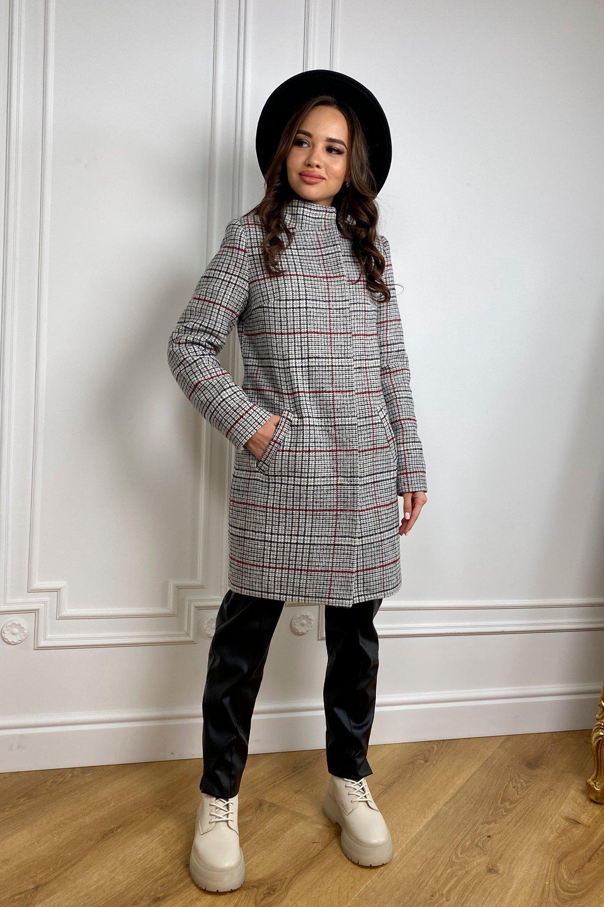 Пальто зима Фортуна 8317 в клетку АРТ. 44791 Цвет: Клетка кр черн/сер/вин - фото 2, интернет магазин tm-modus.ru