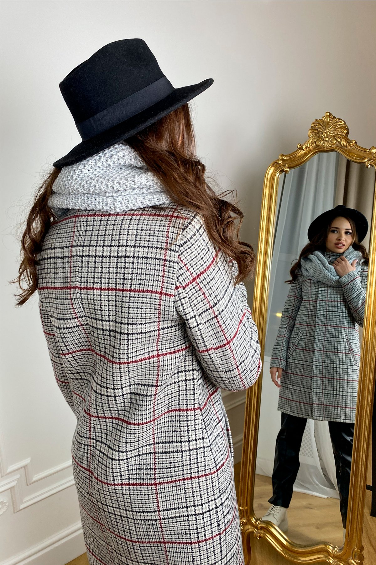 Пальто зима Фортуна 8317 в клетку АРТ. 44791 Цвет: Клетка кр черн/сер/вин - фото 4, интернет магазин tm-modus.ru