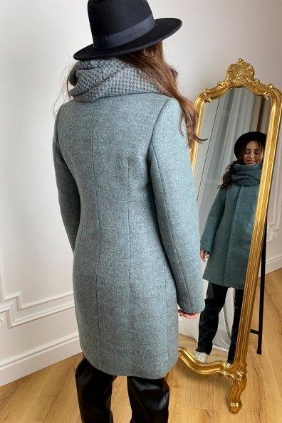 Зимнее пальто с шарфом Сплит 5834 Цвет: Олива
