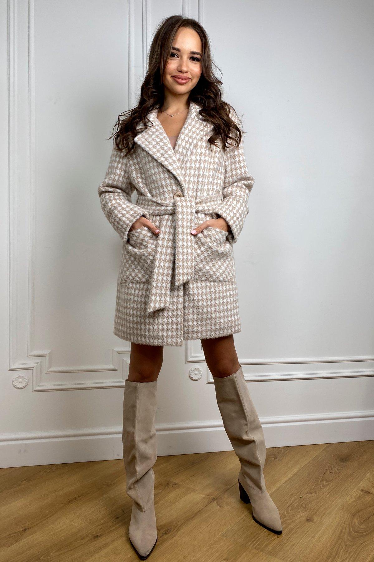 Живанши ворсовка принт пальтовая ткань пальто 9829 Цвет: Бежевый/Гусиные лапки