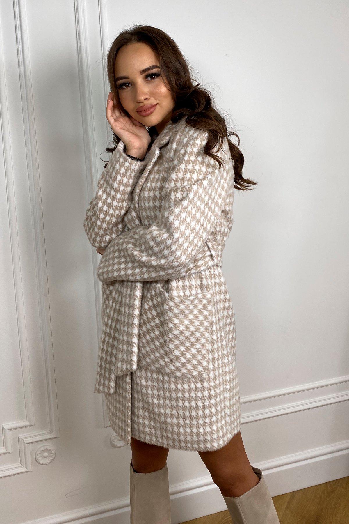 Живанши ворсовка принт пальтовая ткань пальто 9829 АРТ. 46109 Цвет: Бежевый/Гусиные лапки - фото 4, интернет магазин tm-modus.ru