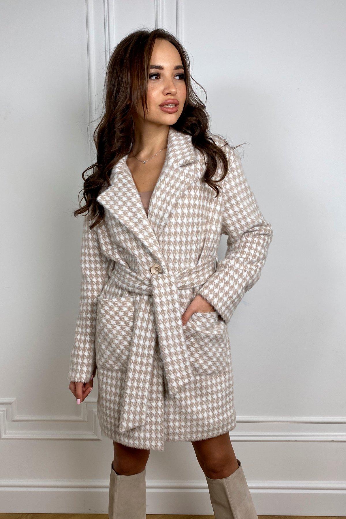 Пальто демисезонное женское больших размеров Живанши ворсовка принт пальтовая ткань пальто 9829
