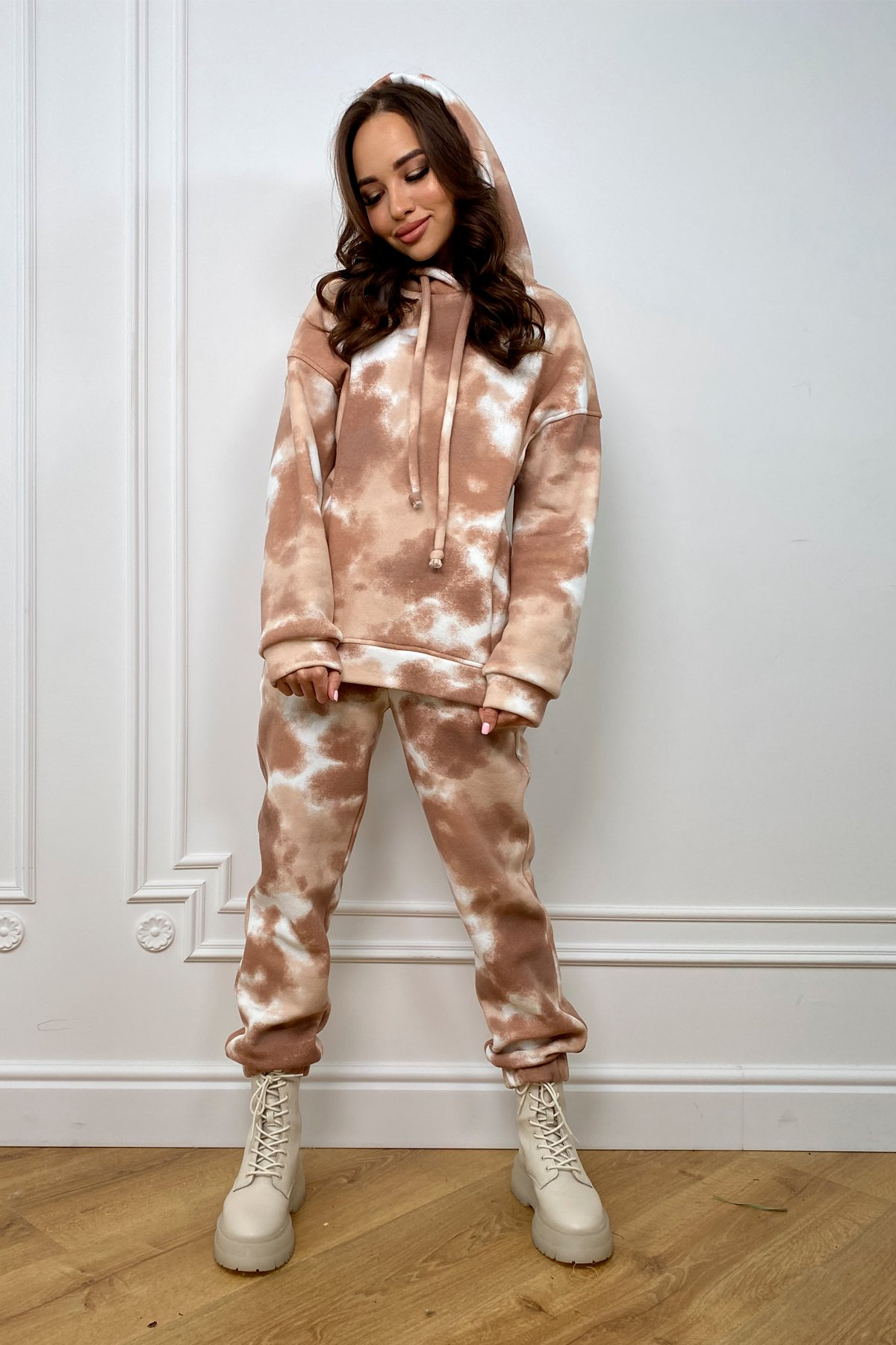 Тай Дай трикотаж 3х нитка с начесом прогулочный костюм 10241 АРТ. 46511 Цвет: Бежево-молочная - фото 3, интернет магазин tm-modus.ru