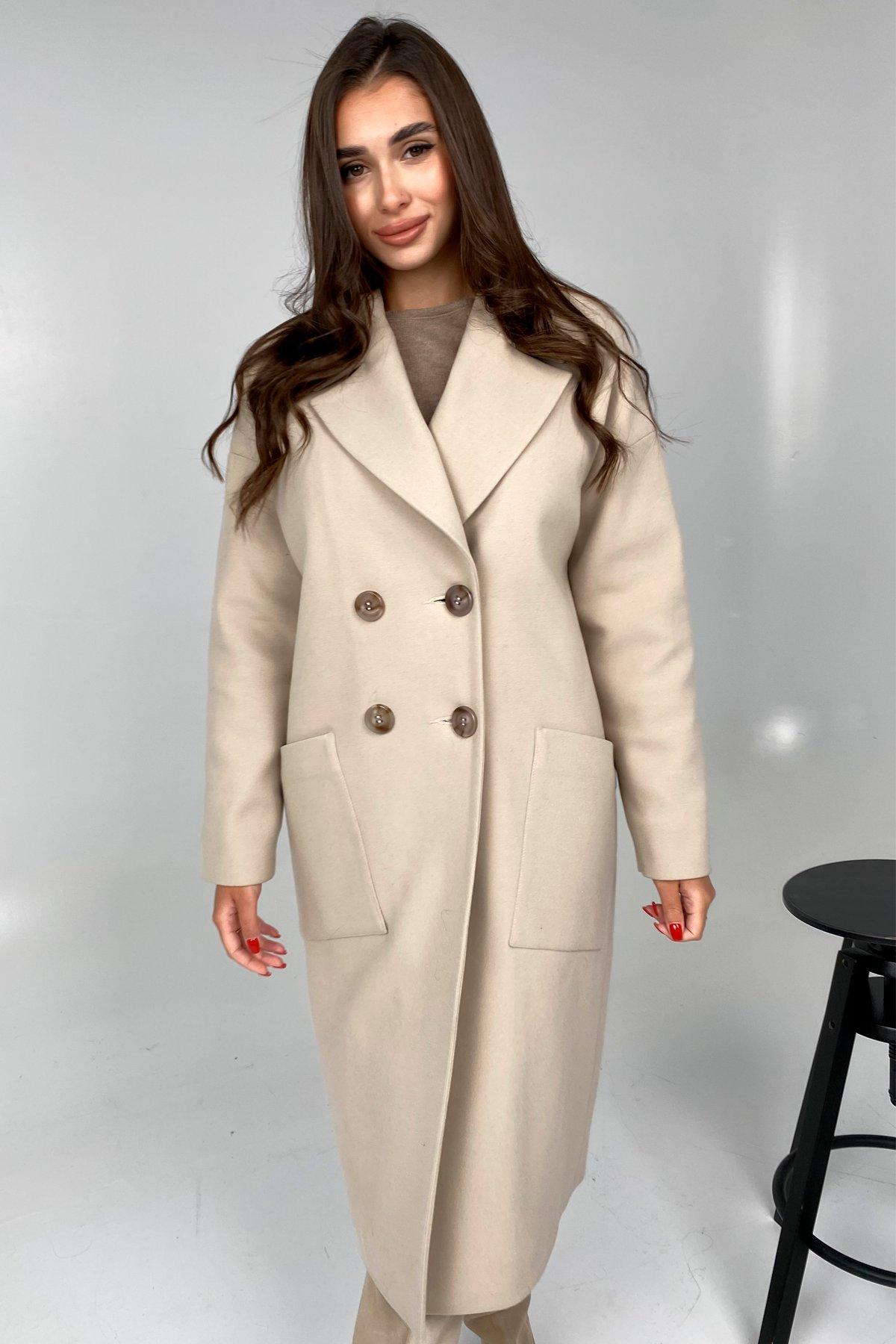 Свайп макси пальтовая ткань кашемир Турция зима Хомут пальто 10118 АРТ. 46417 Цвет: Бежевый светлый - фото 2, интернет магазин tm-modus.ru