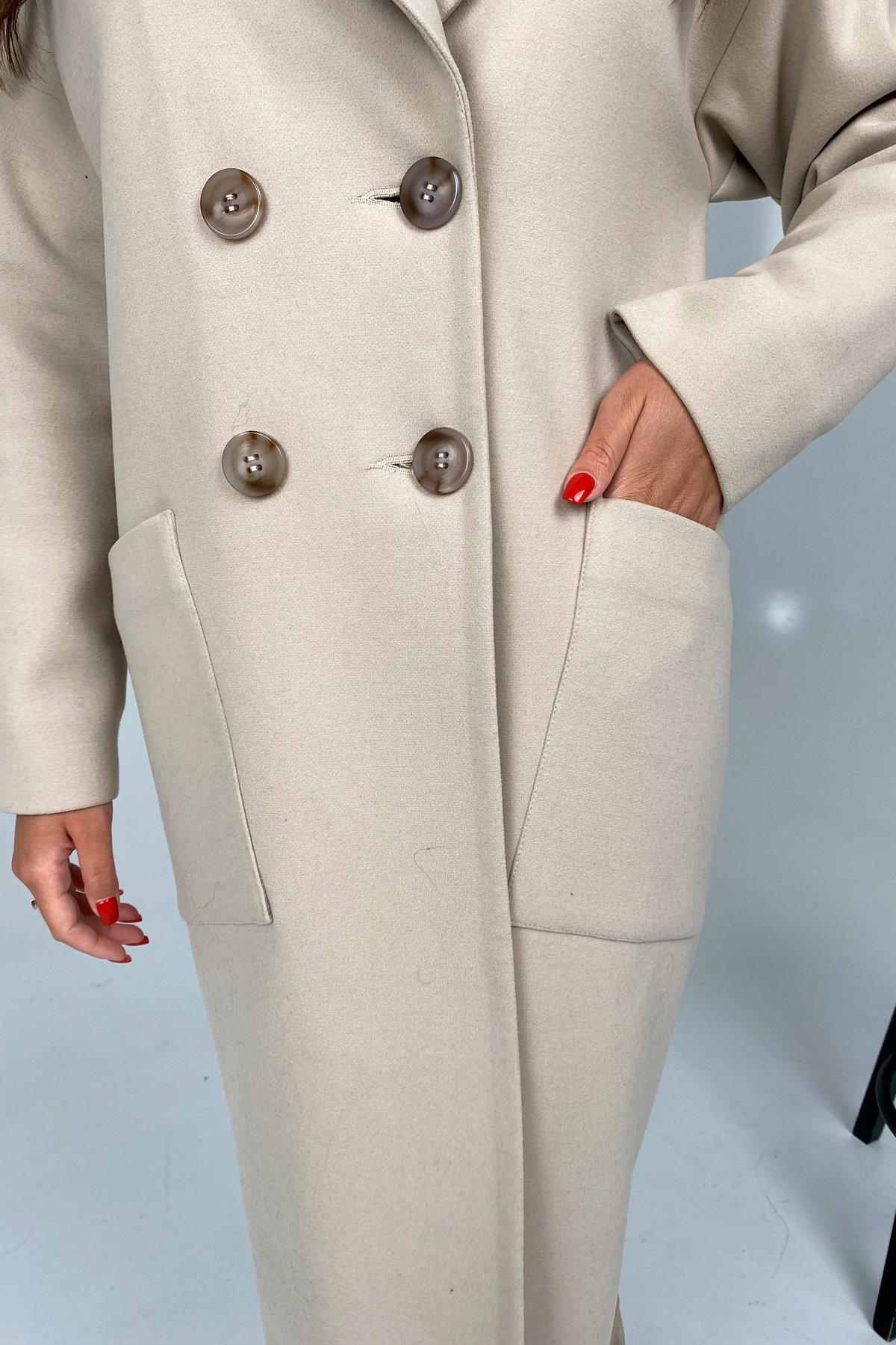 Свайп макси пальтовая ткань кашемир Турция зима Хомут пальто 10118 АРТ. 46417 Цвет: Бежевый светлый - фото 4, интернет магазин tm-modus.ru