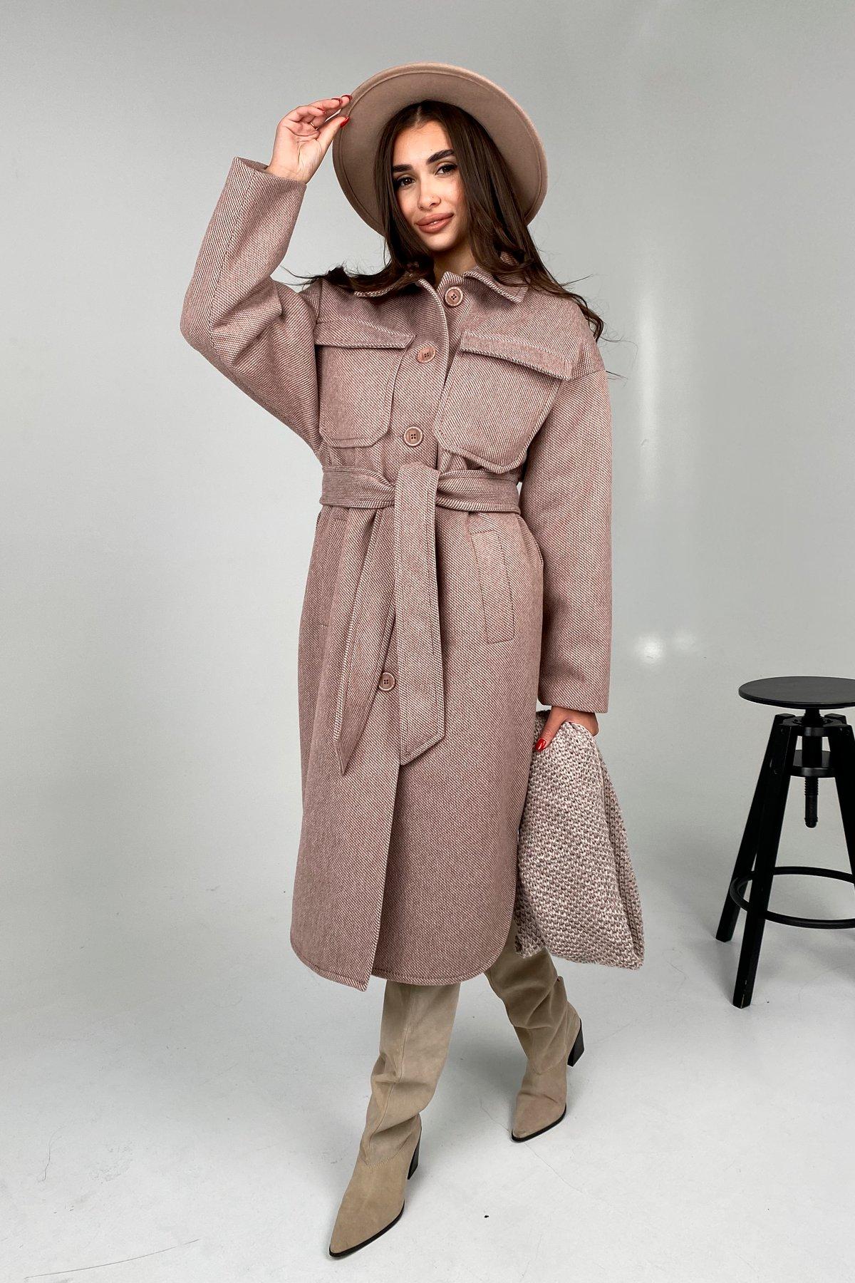 Ола модена пальтовая ткань зима Шарф пальто 10217 АРТ. 46506 Цвет: Светлый шоколад - фото 1, интернет магазин tm-modus.ru