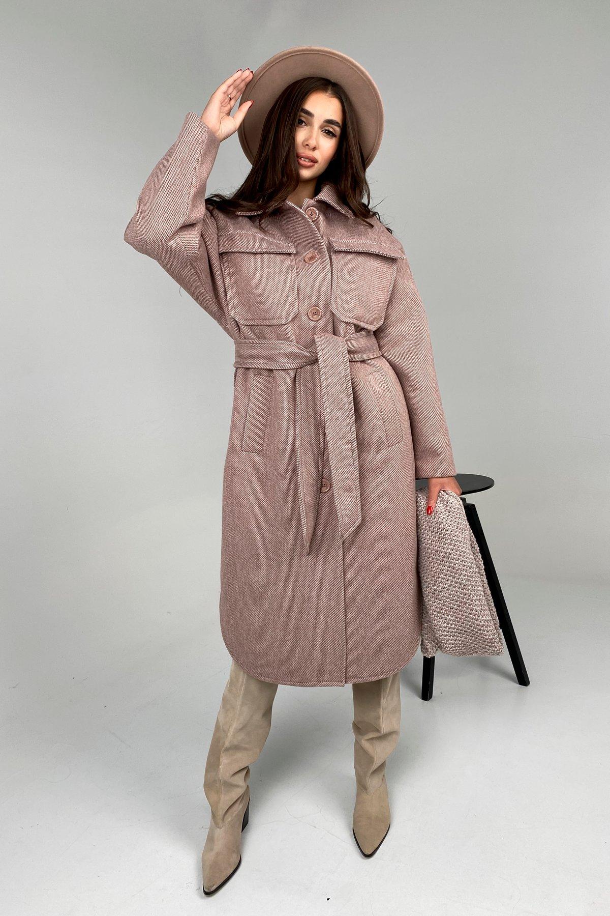 Ола модена пальтовая ткань зима Шарф пальто 10217 АРТ. 46506 Цвет: Светлый шоколад - фото 2, интернет магазин tm-modus.ru