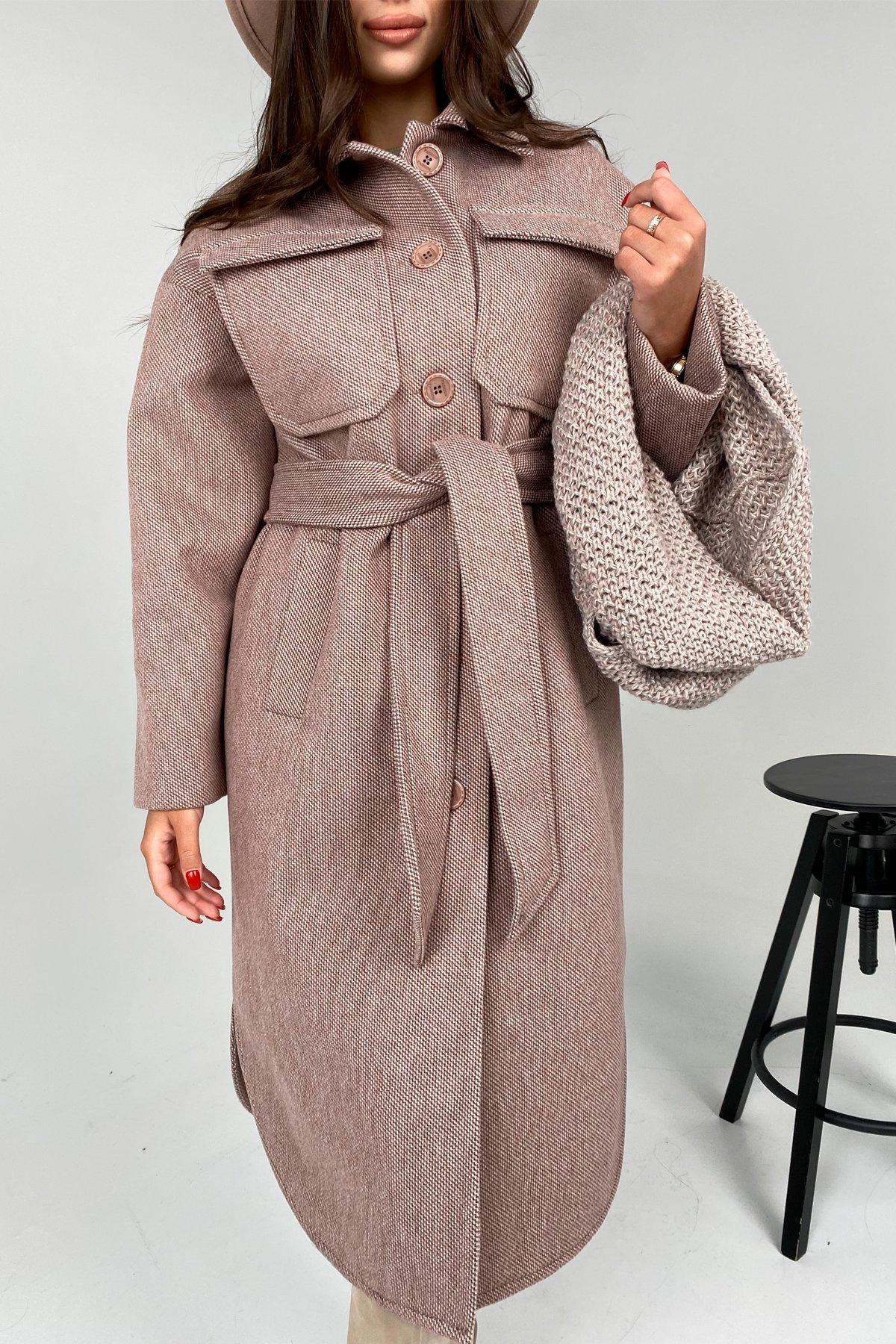 Ола модена пальтовая ткань зима Шарф пальто 10217 АРТ. 46506 Цвет: Светлый шоколад - фото 4, интернет магазин tm-modus.ru