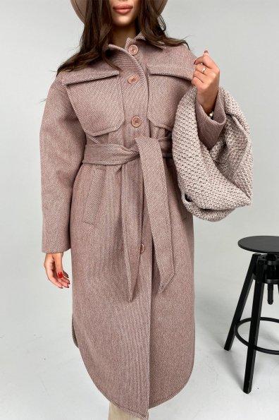 Ола модена пальтовая ткань зима Шарф пальто 10217 Цвет: Светлый шоколад