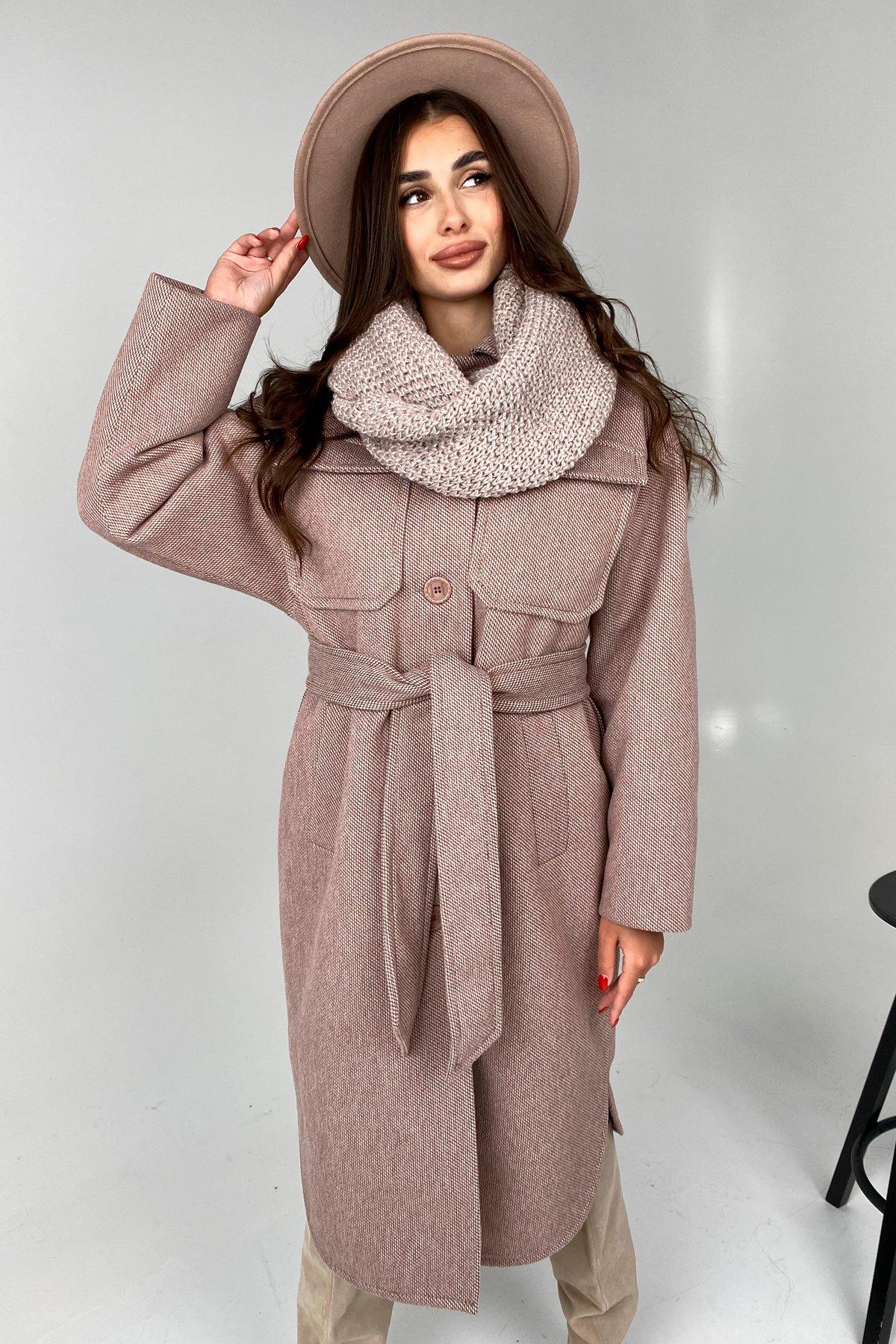 Ола модена пальтовая ткань зима Шарф пальто 10217 АРТ. 46506 Цвет: Светлый шоколад - фото 5, интернет магазин tm-modus.ru