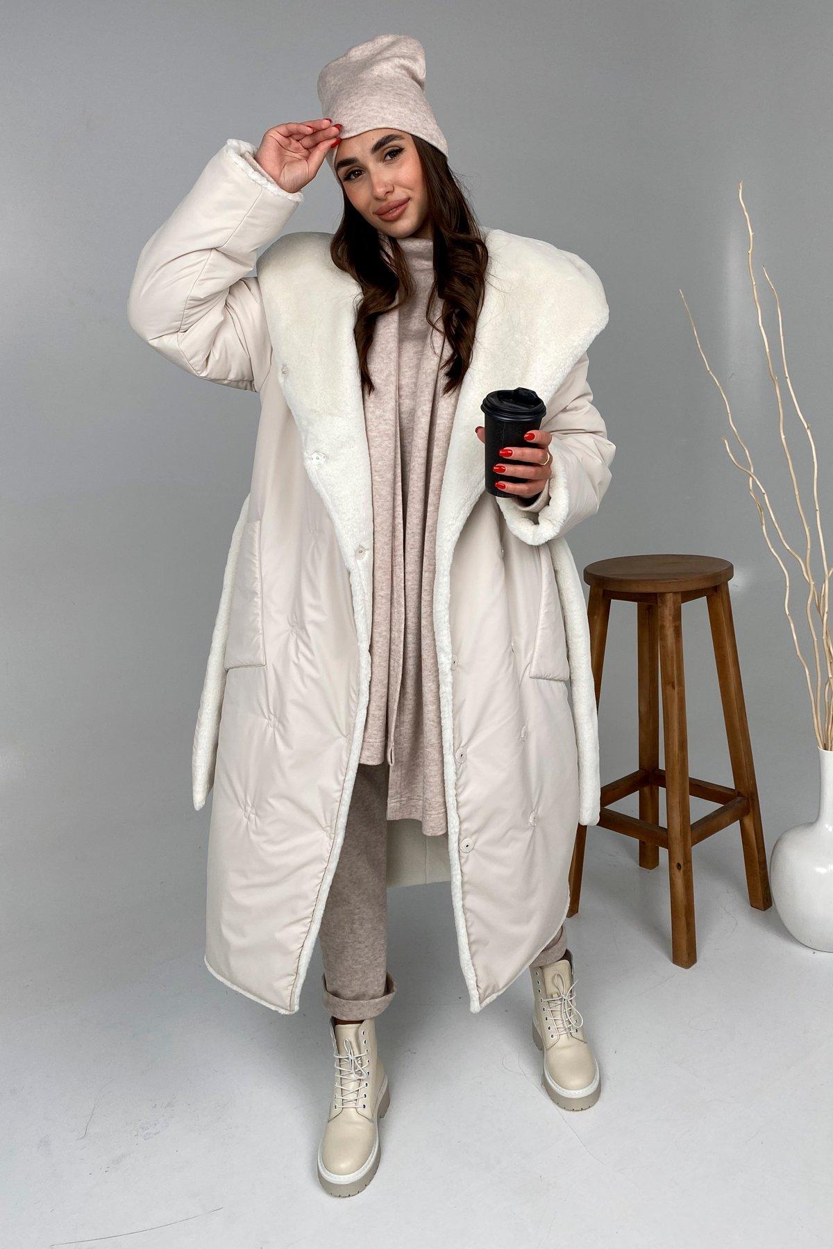Сноу  теплое двухстороннее пальто из  еко меха и плотной  плащевки 9956 АРТ. 46243 Цвет: Молоко - фото 2, интернет магазин tm-modus.ru