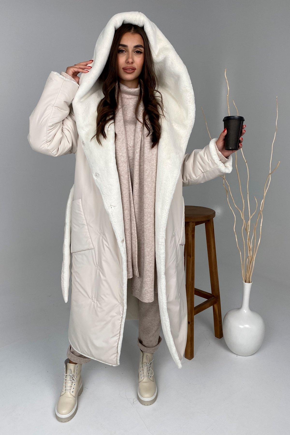 Сноу  теплое двухстороннее пальто из  еко меха и плотной  плащевки 9956 АРТ. 46243 Цвет: Молоко - фото 4, интернет магазин tm-modus.ru