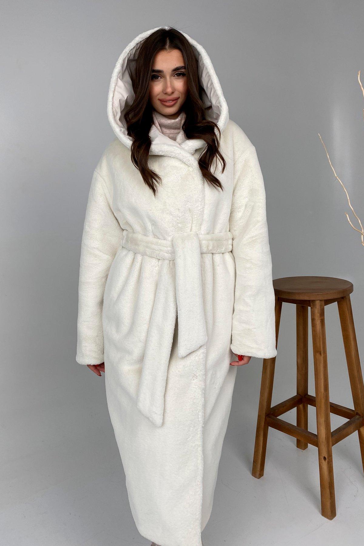 Сноу  теплое двухстороннее пальто из  еко меха и плотной  плащевки 9956 АРТ. 46243 Цвет: Молоко - фото 7, интернет магазин tm-modus.ru