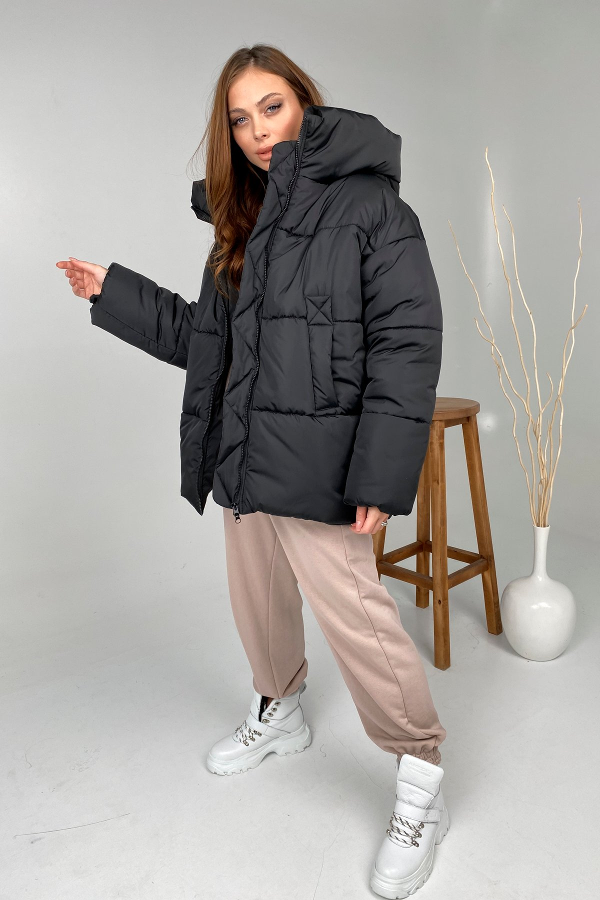 куртка женская купить  Овертайм  теплый пуховик из плащевой ткани 10243