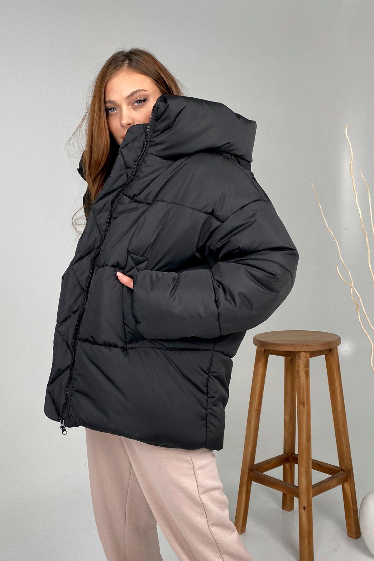 Овертайм  теплый пуховик из плащевой ткани 10243 АРТ. 46533 Цвет: Черный - фото 3, интернет магазин tm-modus.ru