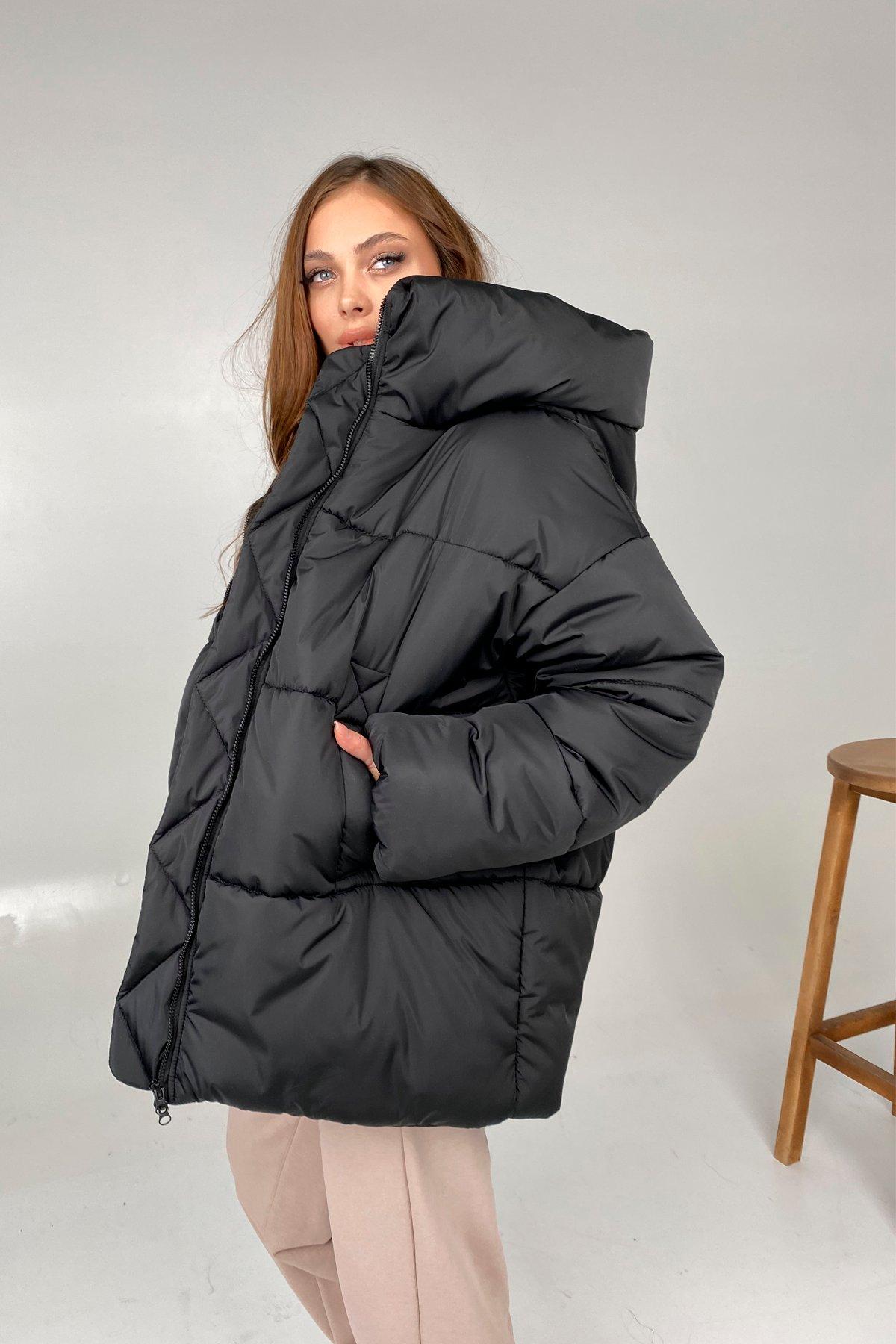 Овертайм  теплый пуховик из плащевой ткани 10243 АРТ. 46533 Цвет: Черный - фото 4, интернет магазин tm-modus.ru