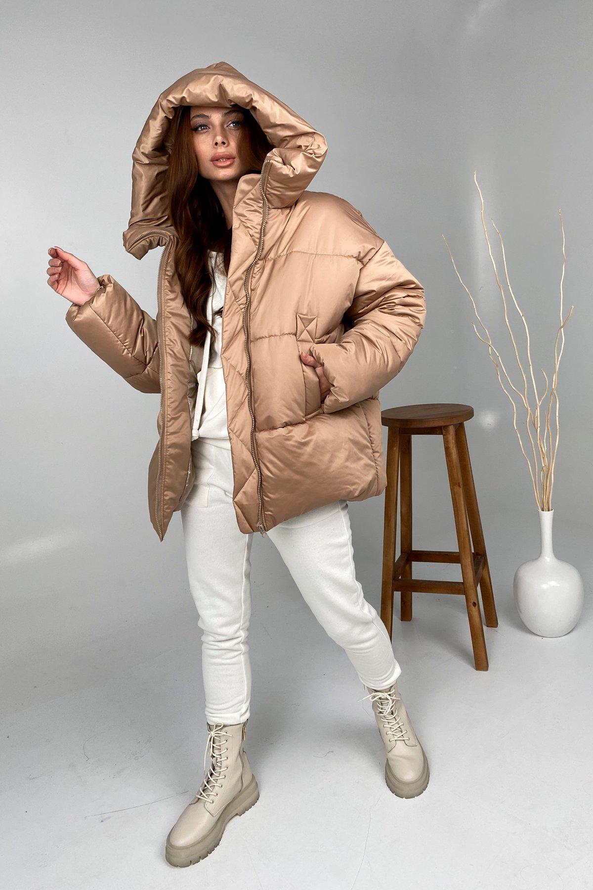 купить куртки женские  Овертайм  теплый пуховик из матовой плащевой ткани 10245