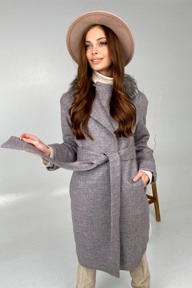 Зимнее приталенное пальто с поясом Богема 5706 Цвет: Карамель 20