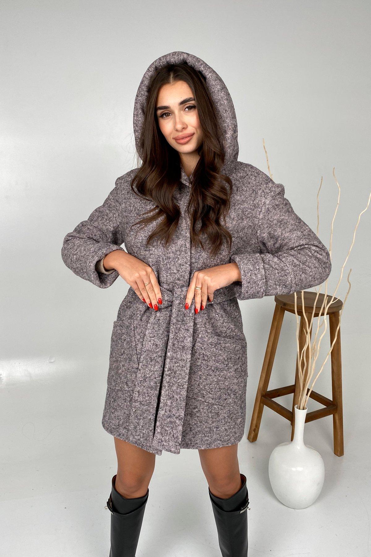Анита шерсть варенка зима без меха пальто 9936 АРТ. 46223 Цвет: Серый/розовый 25 - фото 2, интернет магазин tm-modus.ru