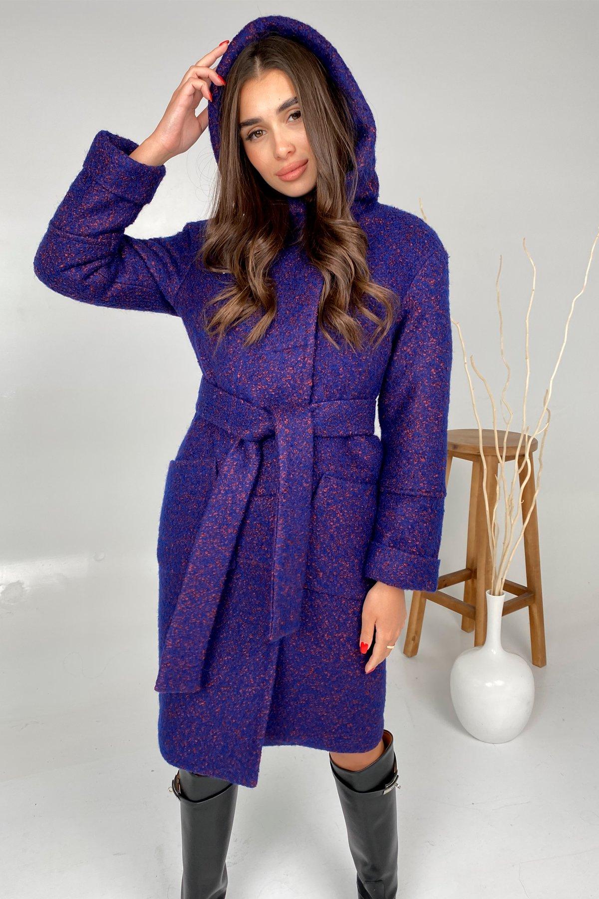 Пальто зима шерсть букле Анита 8320 АРТ. 44770 Цвет: Т.синий/марсал - фото 2, интернет магазин tm-modus.ru